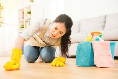 Obsessive Compulsive Cleaners, Frustrated Woman Cleaning Floor