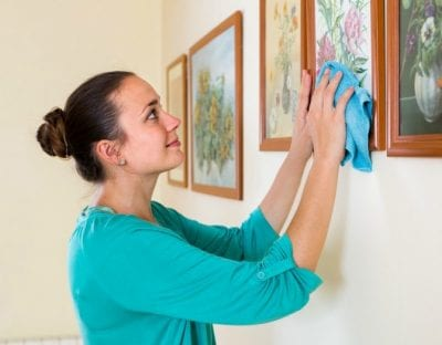 Obsessive-Compulsive Cleaners, Woman Cleaning Framed Art