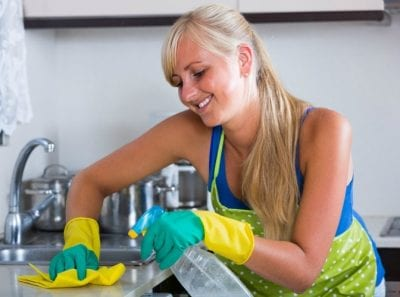 Obsessive Compulsive Cleaners, Woman Cleaning Kitchen Counter