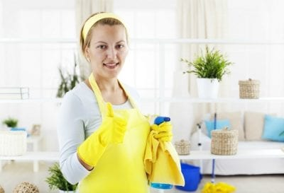 Qualifications for House Cleaning, House Cleaner With Yellow Gloves and Thumb Up