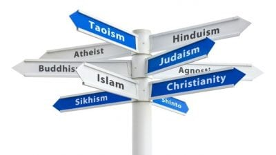 Religious Stereotypes different religions on street signs pointing in all directions