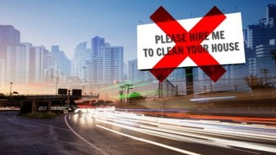 Startup Struggles Billboard showcases house cleaner ad