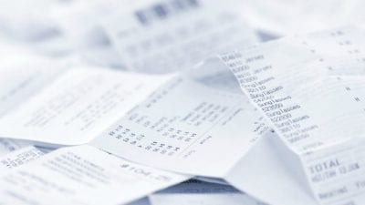 Tax Tips Close up stack of receipts