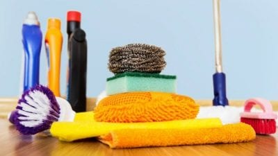 Tax Tips New stack of cleaning supplies