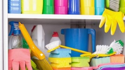 Tax Tips Shelf of Cleaning Supplies
