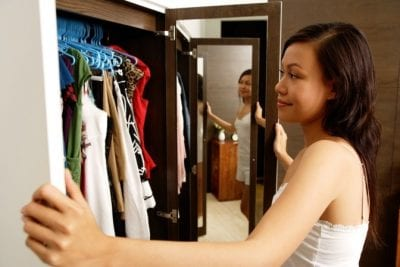 Upsell to Party Hosting from House Cleaning, Woman Looking in Closet