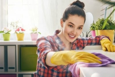 Upsell to Party Hosting from House Cleaning, Woman Wiping Counter