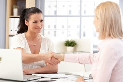 Upsell to Party Hosting from House Cleaning, Women Shaking Hands