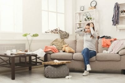 How Long Does it Take, Woman in Messy Living Room