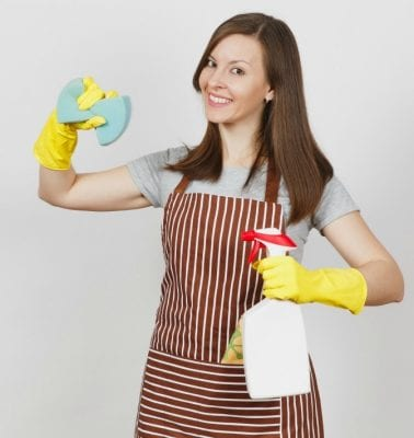 Over-Delivering, Woman in Cleaning Clothes with Supplies