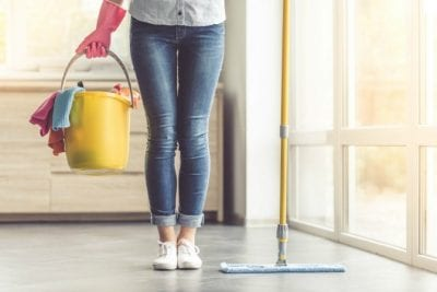 Same Day Walkthrough, Woman With Cleaning Supplies