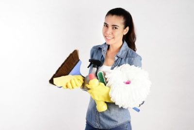 Savvy Perks, Woman With Cleaning SuppliesSavvy Perks, Woman With Cleaning Supplies