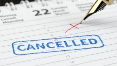 Suspend House Cleaning Service planner with cancelled written on it
