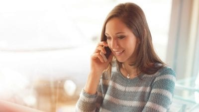 Suspend House Cleaning Service young woman on phone call