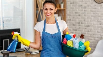 Who Collects the Money smiling house cleaner
