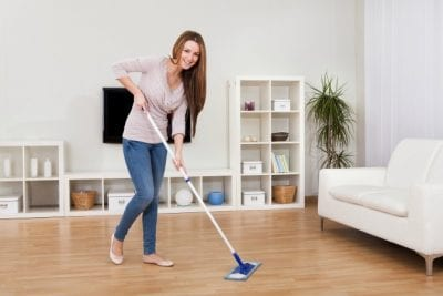 Hardwood Floor Secrets, Woman With Dustmop