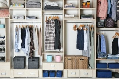 How to Organize your Closet, Organized Closet with Bins