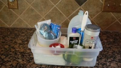 Vacation Rental - What's Under Your Sink, Bucket of Supplies