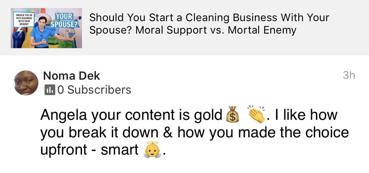 Your content is gold, Ask a House Cleaner Testimonial