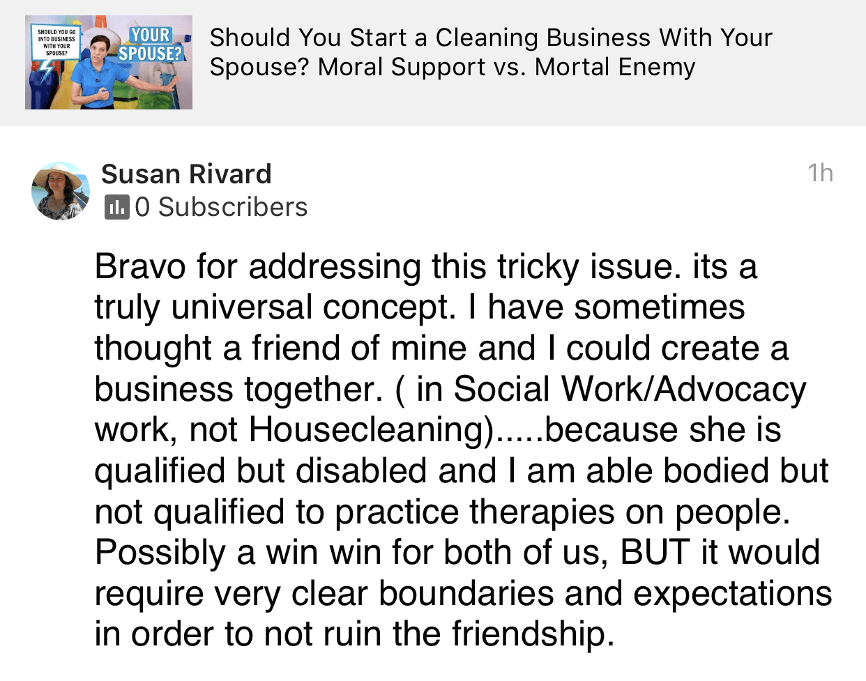 Bravo for addressing, Ask a House Cleaner Testimonial