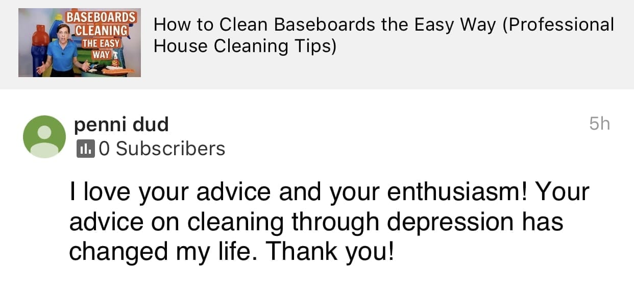 Enthusiasm, Ask a House Cleaner Testimonial