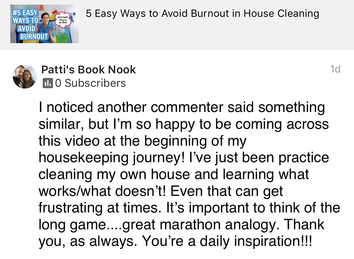 You're a daily inspiration, Ask a House Cleaner Testimonial