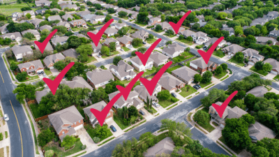 Amazon Home Services to Grow My Cleaning Company, Aerial View of Neighborhood with Checkmarks