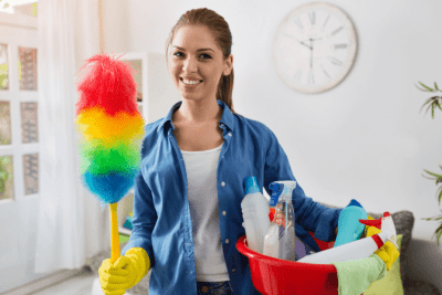 How to Ask for a Raise in House Cleaning, House Cleaner with Her Supplies and Duster