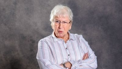 Botched Referral grumpy old lady isolated