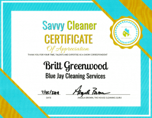 Britt Greenwood, Blue Jay Cleaning Services, Savvy Cleaner Correspondent