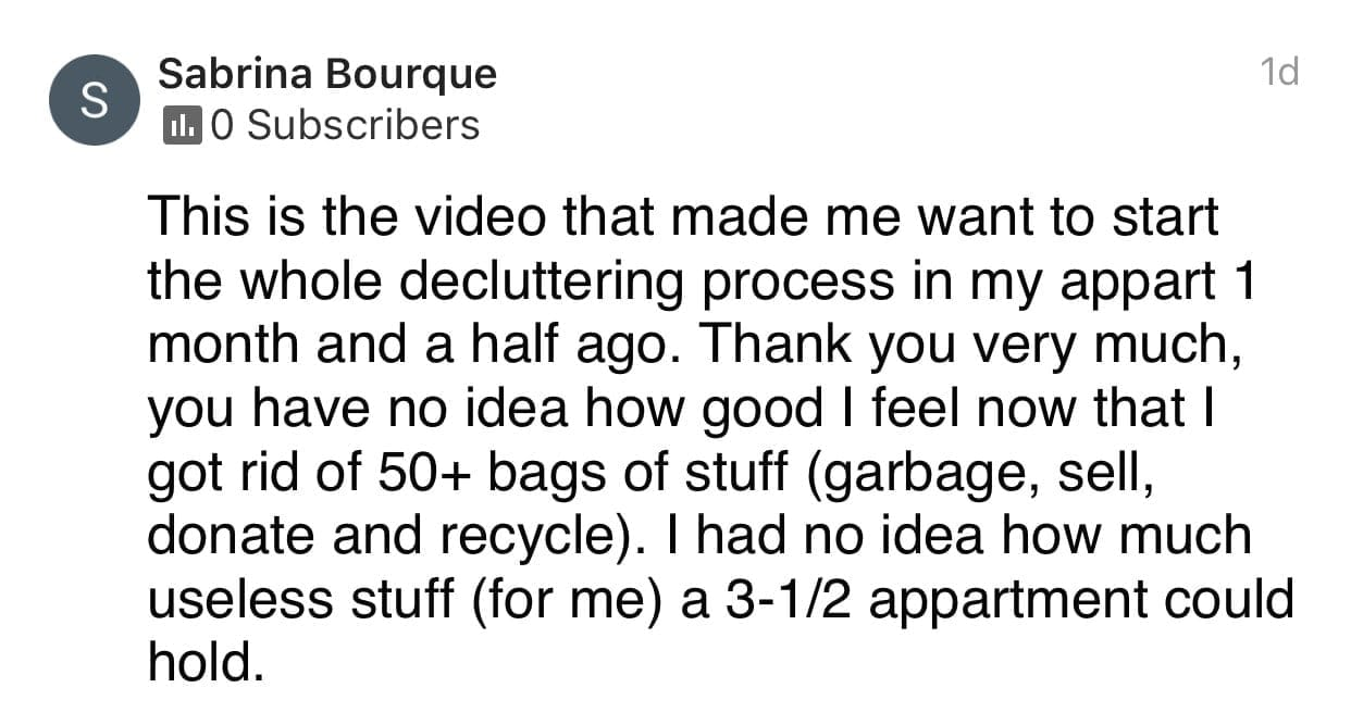 Decluttering, Ask a House Cleaner Testimonial