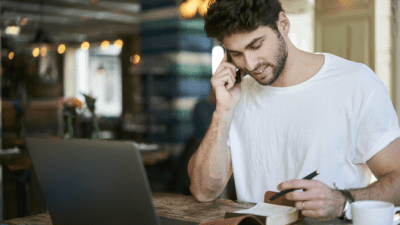 Feel Unsafe While Cleaning man on phone call with notebook