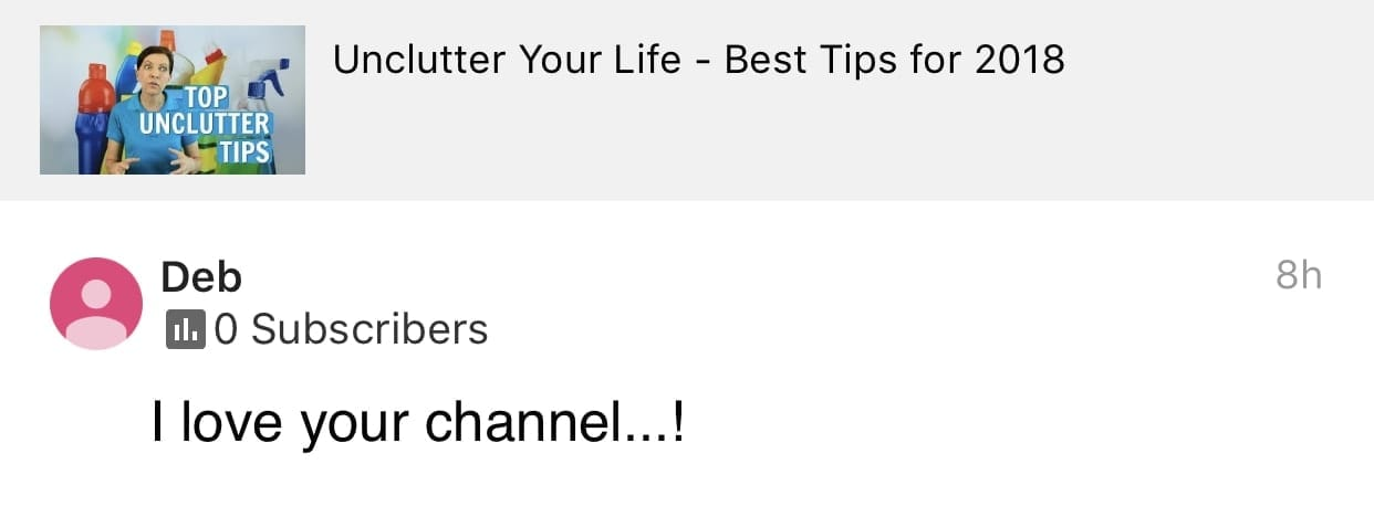 I love your channel, Ask a House Cleaner Testimonial