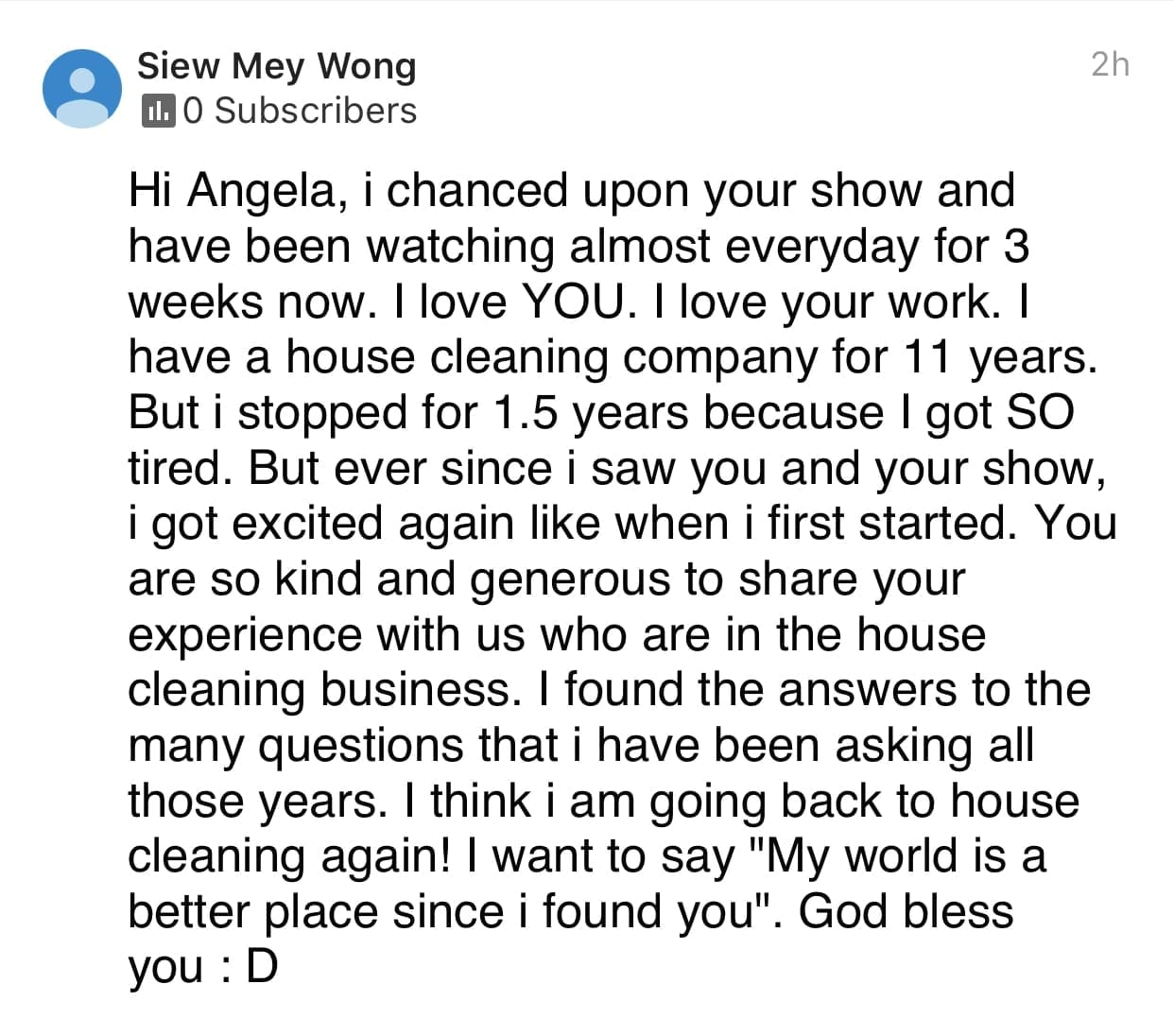 I love your work, Ask a House Cleaner Testimonial