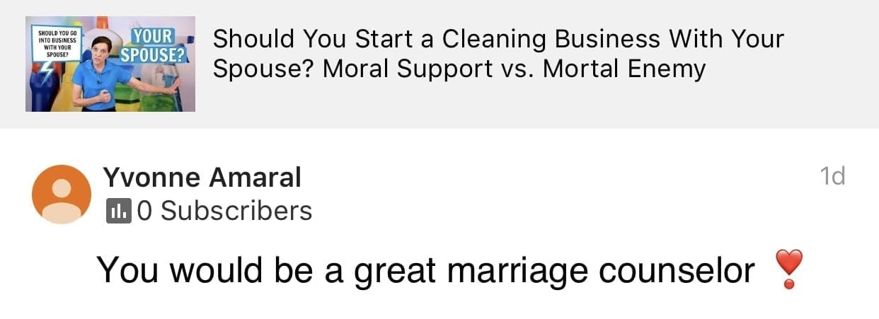 Marriage counselor, Ask a House Cleaner Testimonial