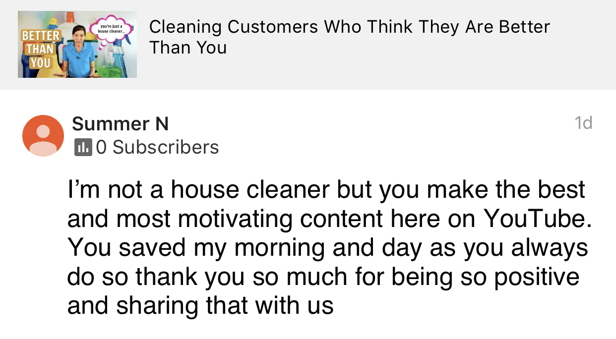 Motivating content, Ask a House Cleaner Testimonial