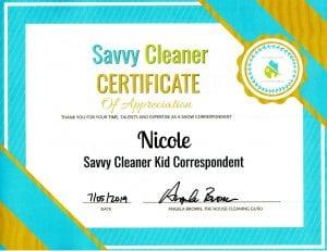 Nicole, Kid Correspondent, Savvy Cleaner Correspondent