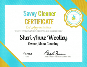 Sheri-Anne Woolley, Mona Cleaning, Savvy Cleaner Correspondent