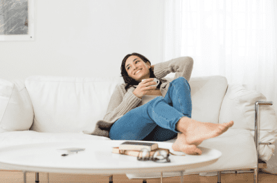 Think They're Better Than You, Woman Relaxing on Couch
