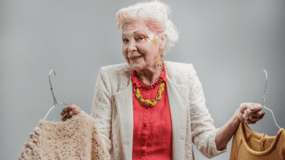 Ageism - Age Discrimination, Elderly Woman Deciding on Outfit
