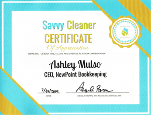 Ashley Mulso, NewPoint Bookkeeping, Savvy Cleaner Correspondent