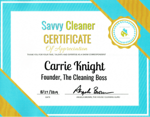 Carrie Knight, Founder, The Cleaning Boss, Savvy Cleaner Correspondent