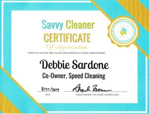 Debbie Sardone, Co-Owner Speed Cleaning, Savvy Cleaner Correspondent