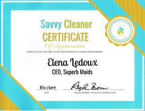 Elena Ledoux Superb Maids, Savvy Cleaner Correspondent