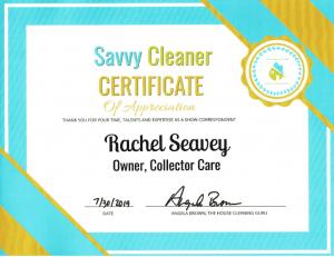 Rachel Seavey, Collector Care, Savvy Cleaner Correspondent