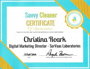 Christina Roark, SerVaas Laboratories Inc. Savvy Cleaner Correspondent