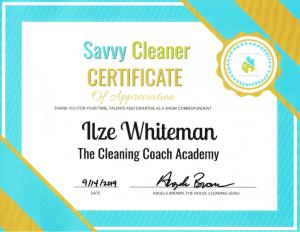 Ilze Whiteman, The Cleaning Coach Academy - Savvy Cleaner CorrespondentIlze Whiteman, The Cleaning Coach Academy - Savvy Cleaner Correspondent