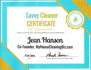 Jean Hanson, MyHouseCleaningBiz.com, Savvy Cleaner Correspondent