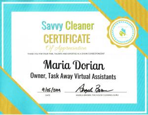 Maria Dorian, Task Away Virtual Assistants, Savvy Cleaner Correspondent