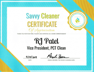 RJ Patel, PCT Clean, Savvy Cleaner Correspondent